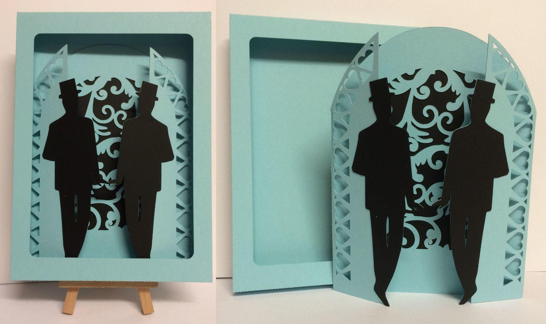 Civil Partnership Wedding Day Gatefold  with Groom & Groom and box