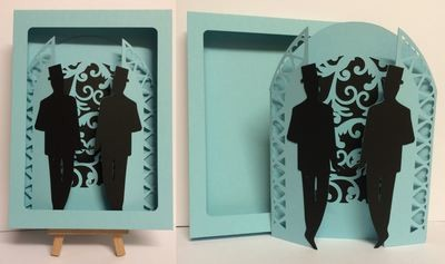 Civil Partnership Wedding Day Gatefold  with Groom & Groom and box