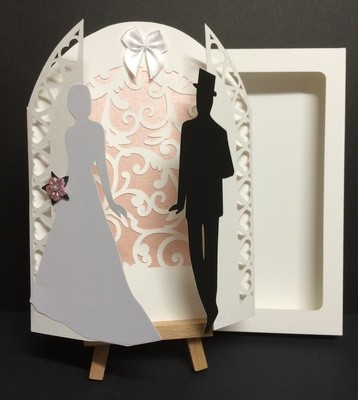 Wedding Day Gatefold  with Bride and Groom and box