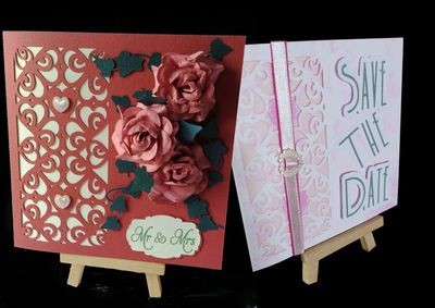 Hearts & Romance Square card no 4 great for wedding stationery, anniversaries, engagement etc