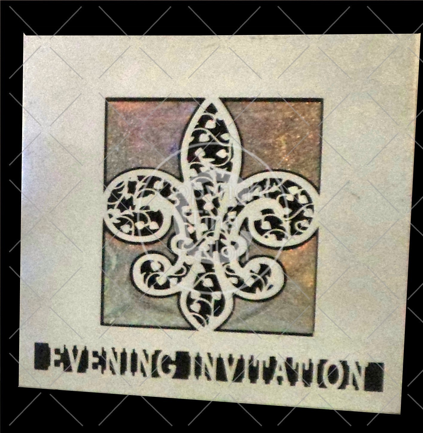 Fleur De Lis Filigree Wedding Evening Invitation card front
