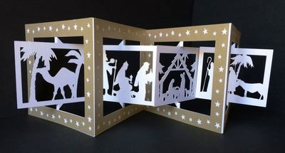 Accordian Card - Christmas Nativity-  Studio format