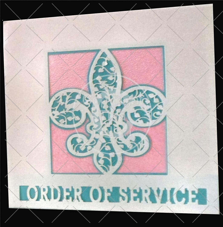Fleur De Lis Filigree Wedding Order Of Service card front