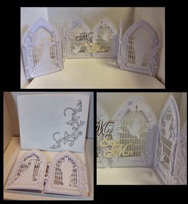 Wedding Doors Tri Fold Gatefold Card template with box, doves, trellis etc