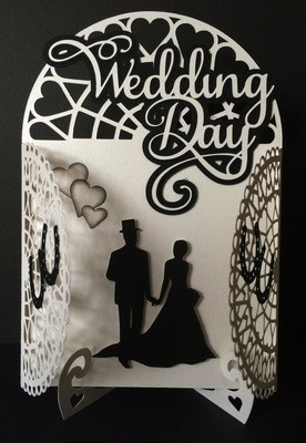 Wedding Day Arched Gatefold  with display stand