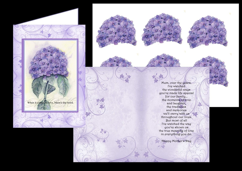 Mum Card No 7 inc card, insert and 3d sheet print n cut