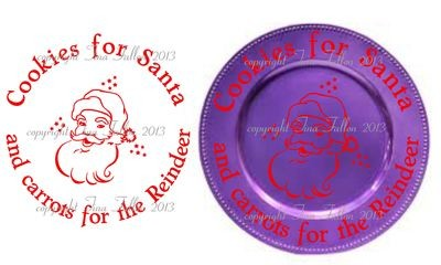 Cookies for Santa Vinyl design for Christmas charger plates
