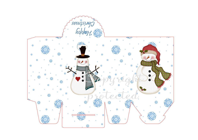 Snowflake and Snowpeople - Christmas Bag / Box  Print N cut for Cameo