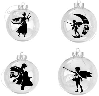 4 Mini Fairy Silhouettes ideal for Hanging Baubles