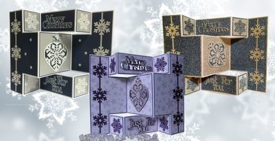 Frozen Snowflake Tri Shutter Fold Card with layering, snowflakes and bauble