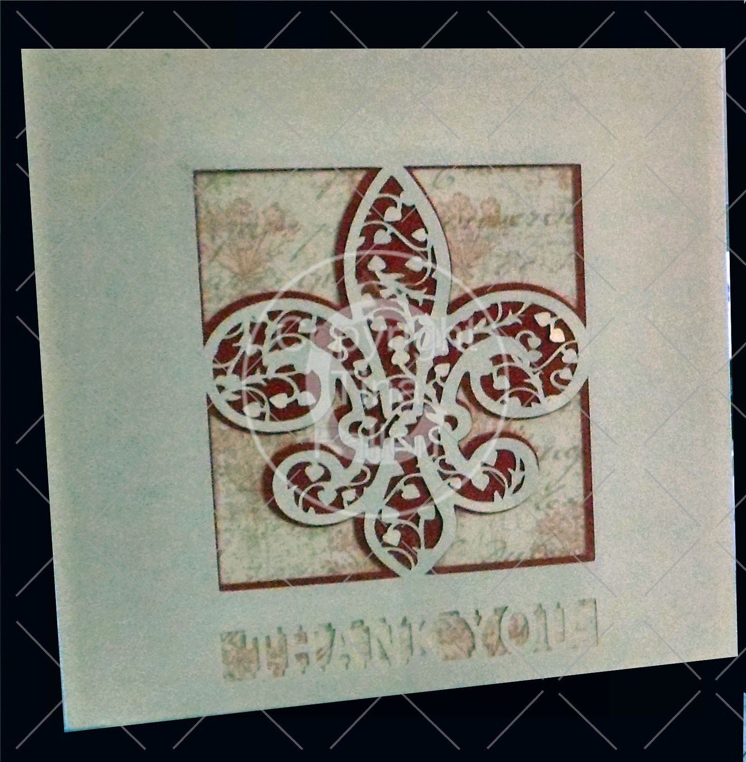 Fleur De Lis Filigree Wedding Thank You card front