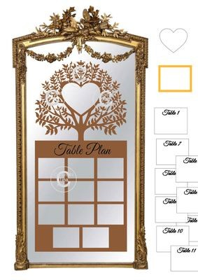 Ex Large Wedding Table Planner for 11 tables - studio fornat