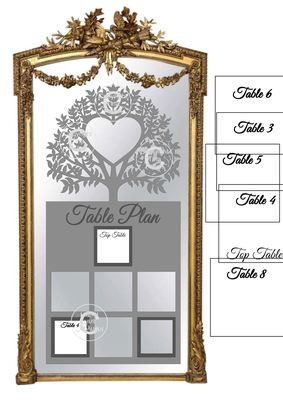 Ex Large Wedding Table Planner for 7 tables - studio fornat