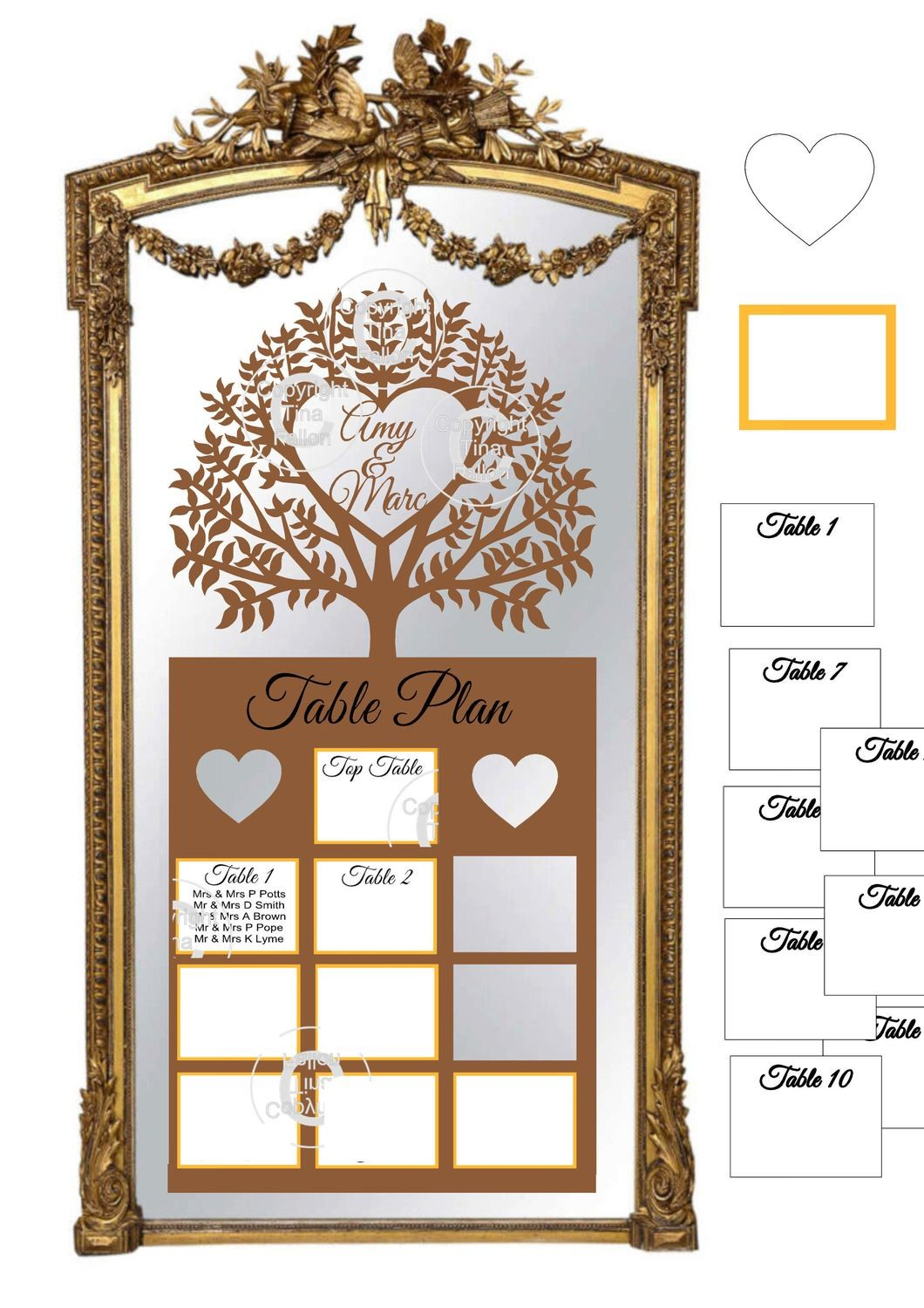 Ex Large Wedding Table Planner for 10 tables - studio fornat