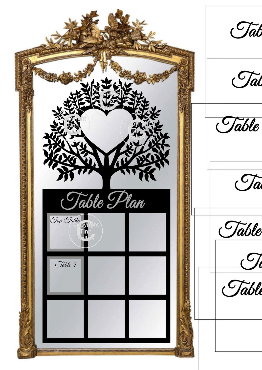 Ex Large Wedding Table Planner for 9 tables - studio fornat