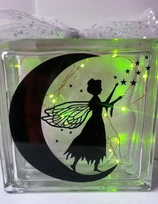 Fairy on Moon with Stars No 4 for vinyl, cards,glass blocks