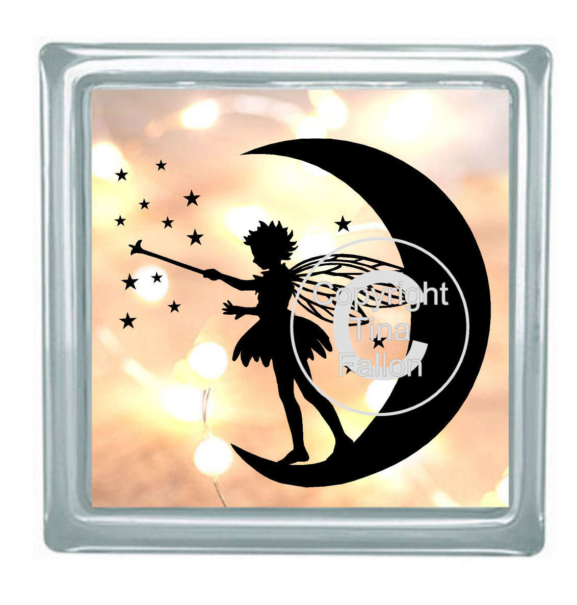 Fairy on Moon with Stars No 3 for vinyl, cards,glass blocks