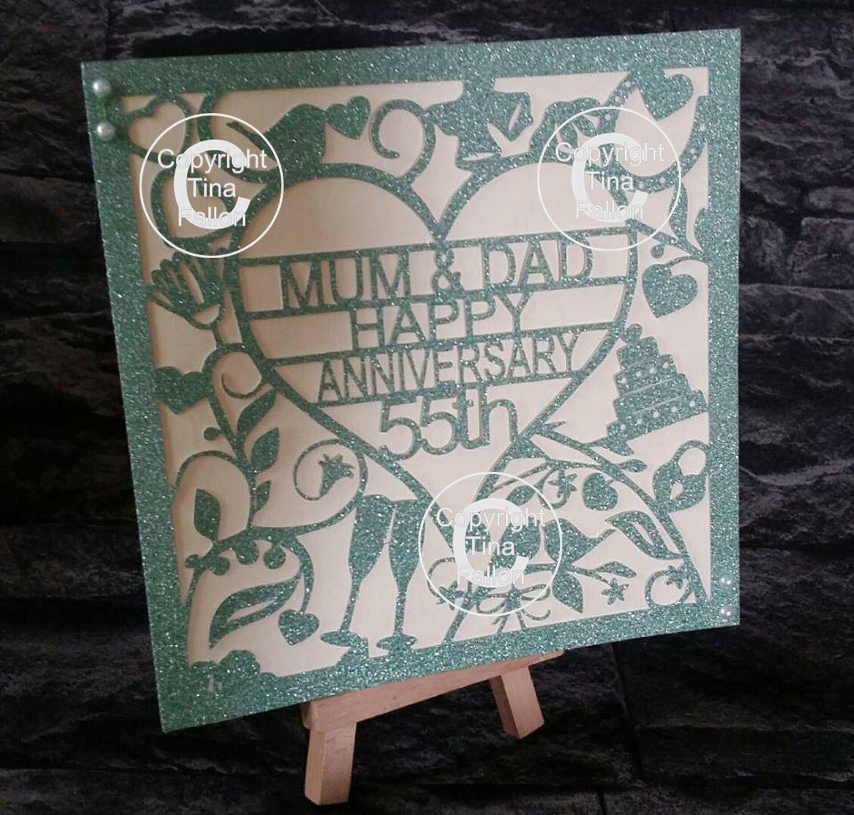55th Emerald Wedding Anniversary Card  to Mum & Dad