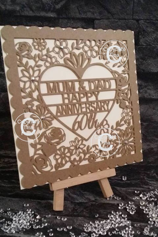 60th Diamond Wedding Anniversary Card Topper (Scallop edge)  to Mum & Dad