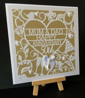 50th Golden Wedding Anniversary Card Topper  to Mum & Dad