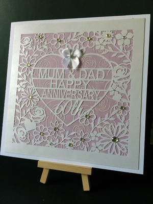 60th Diamond Wedding Anniversary Card Topper  to Mum & Dad