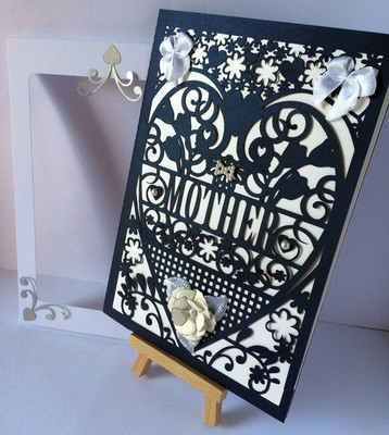 Mother  Birthday Card (with box)  beautiful cutout design