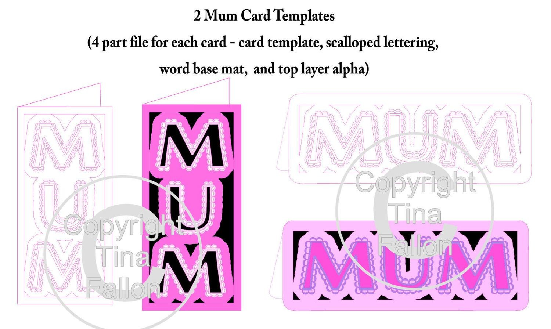 Scalloped Mum Word Card Templates x 2
