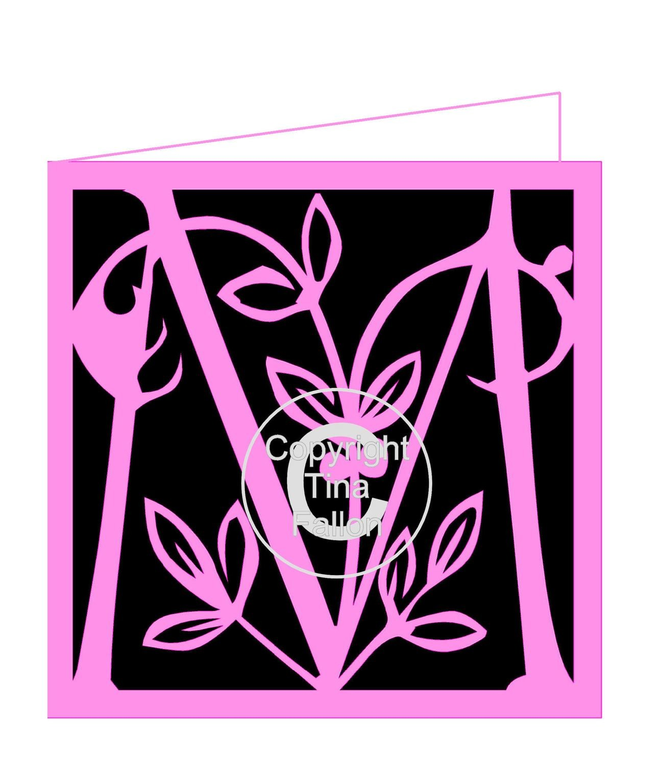 M is for ... Leafy monogram card and Topper