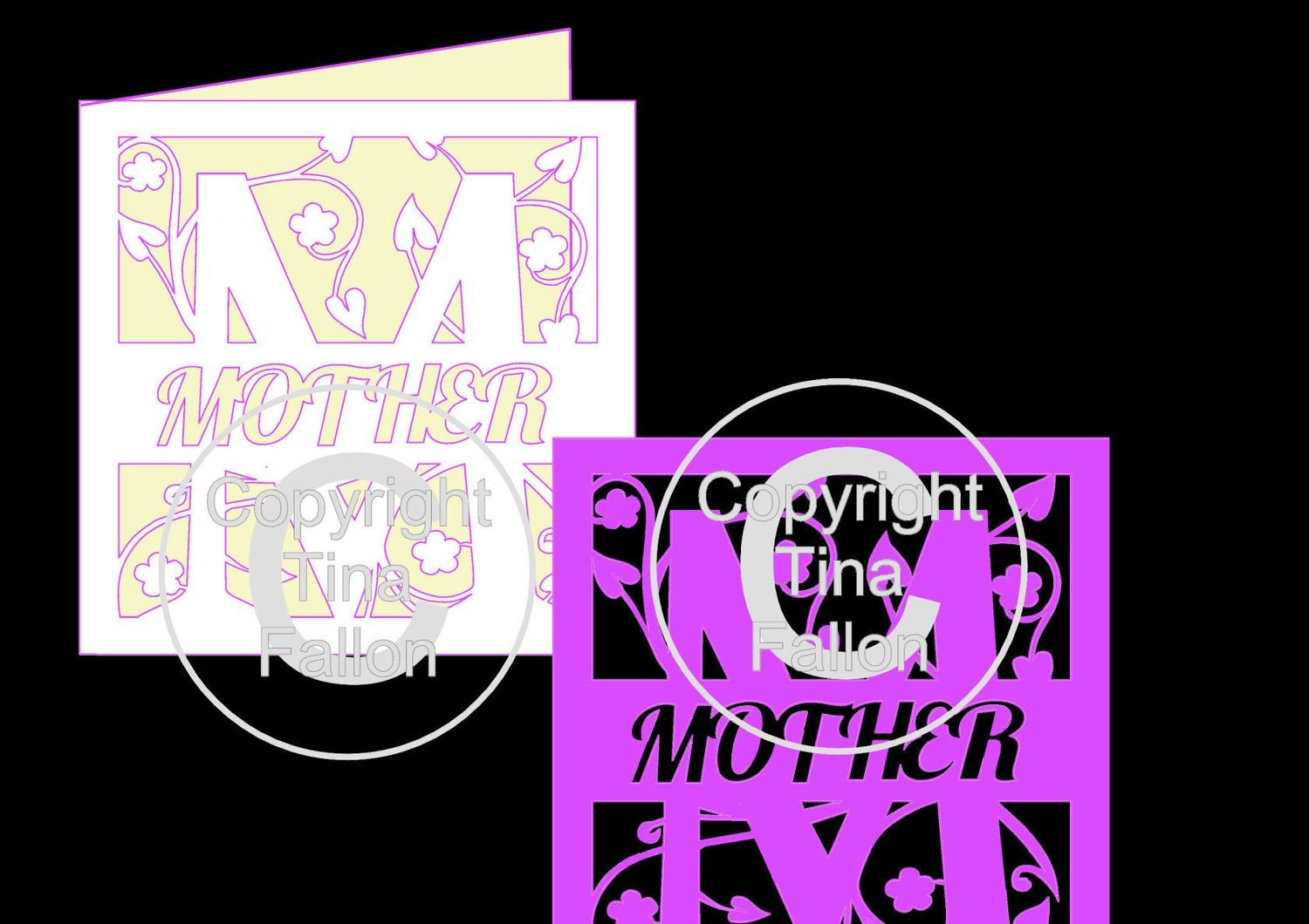 Split letter card blank M for Mother and split letter Topper for Mother