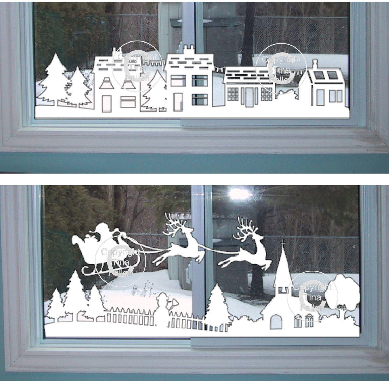Christmas Winter Village Window Scene  pt 1 & 2   (£1 saving)
