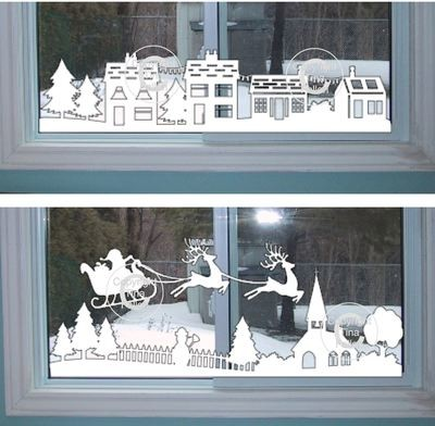Christmas Winter Village Window Scene  pt 1 & 2   (£1 saving)