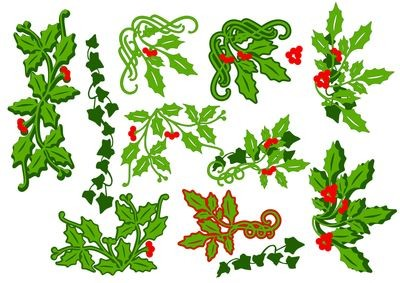Christmas Holly and Ivy selection - layered border, corners