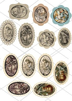 Alice in Wonderland  - 13 assorted toppers  (with decorative edges) - studio format print n cut