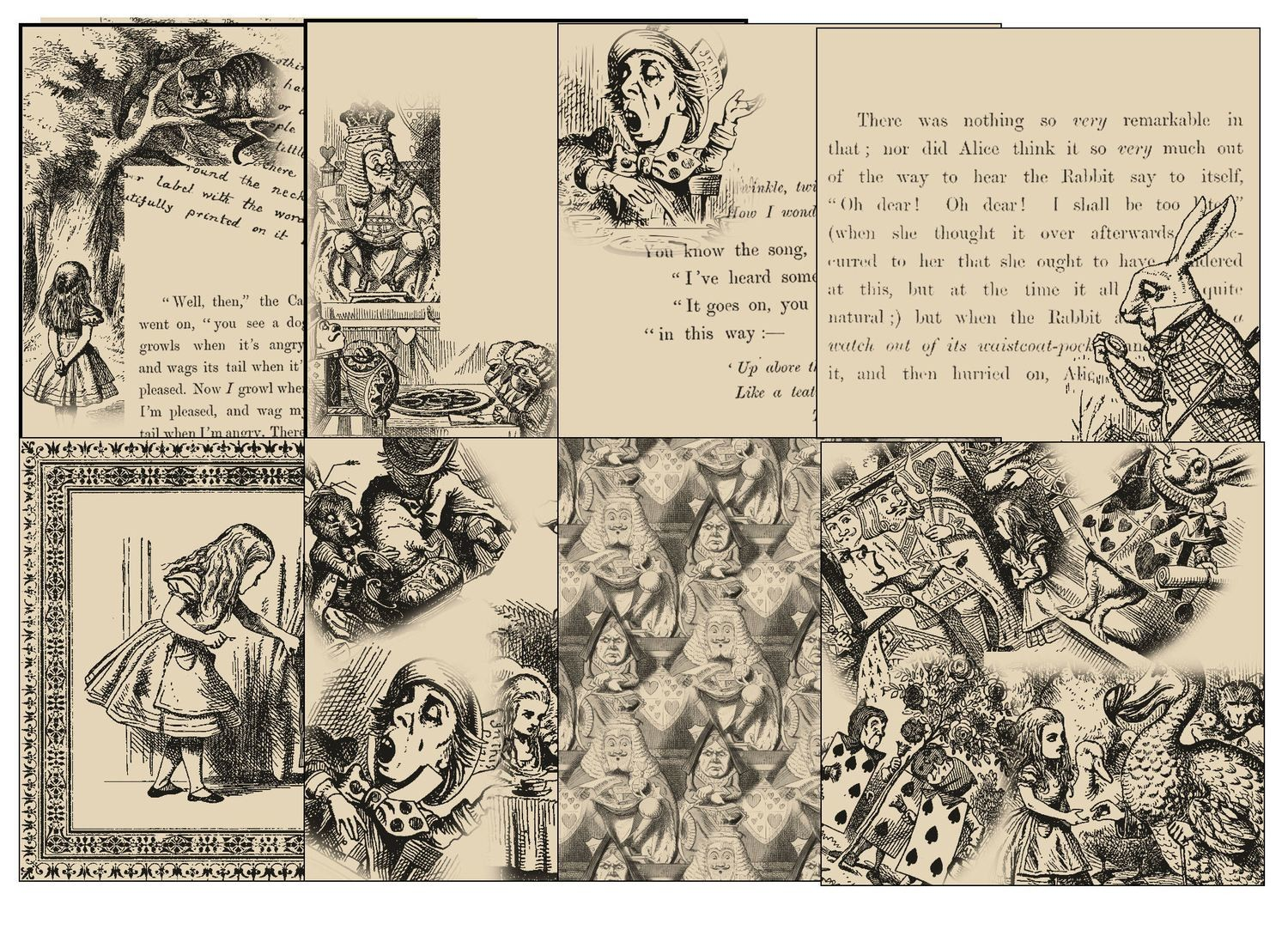 Alice in Wonderland  - 24 Backing Papers (Aged effect) - studio format
