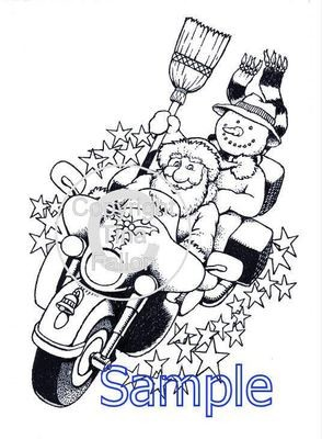 Christmas Bikers  Digi Image  non cutting file