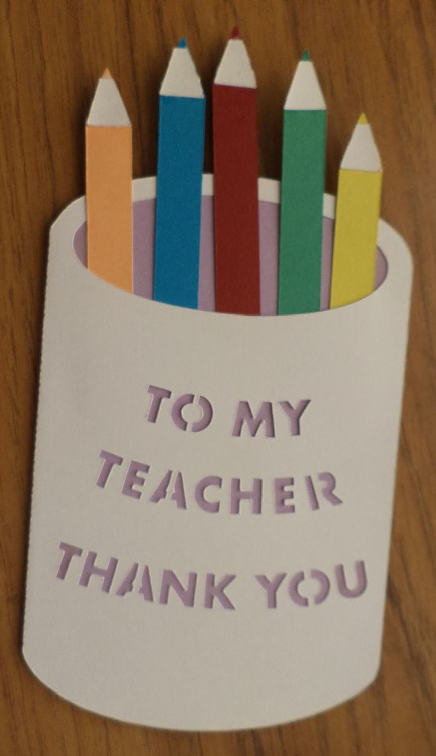 Teacher Pencil pot layered card template