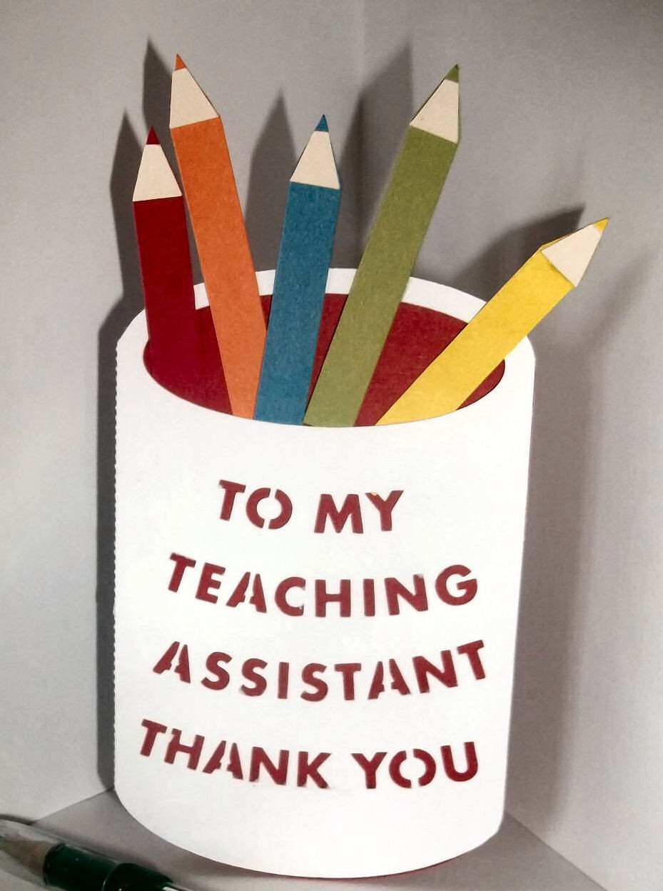 Teaching Assistant Pencil pot layered card template