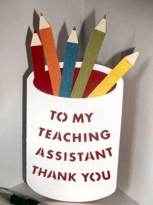 Teaching Assistant Pencil pot layered card template
