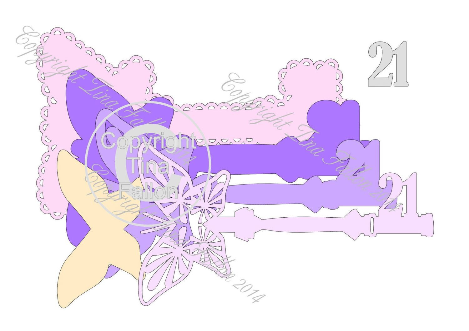 21st Key with presentation box - 5 layered cutting file Butterfly