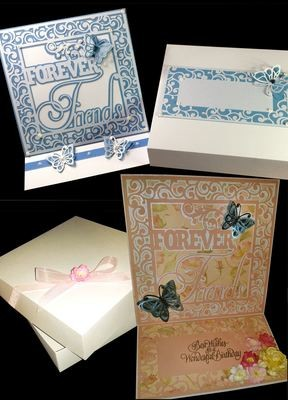 Twirly Frame Design Set  - FOREVER FRIENDS - Easel Card Template  WITH BOX