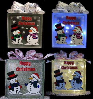Snowmen , Snowwoman -  layered vinyl file for glass blocks Christmas