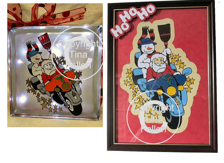 Santa and Snowman on motorbike Christmas Eve - vinyl layering