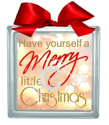 Have yourself a Merry Little Christmas Glass Block Tile Design