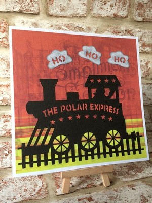 Polar Express Christmas Train No 1 Frame Glass Block Tile Design or Card Topper