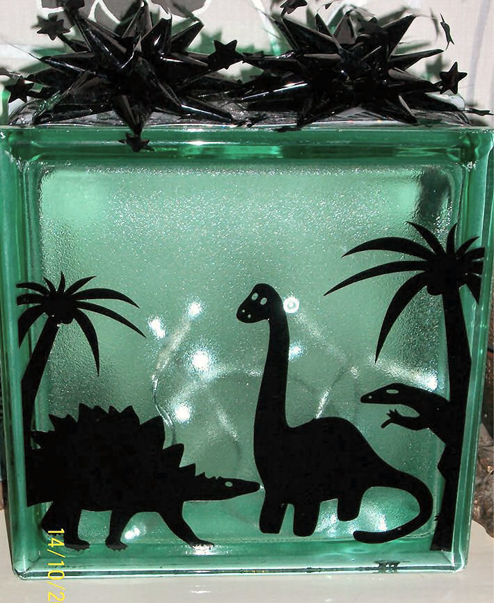 Dinosaur Glass Block Tile Design