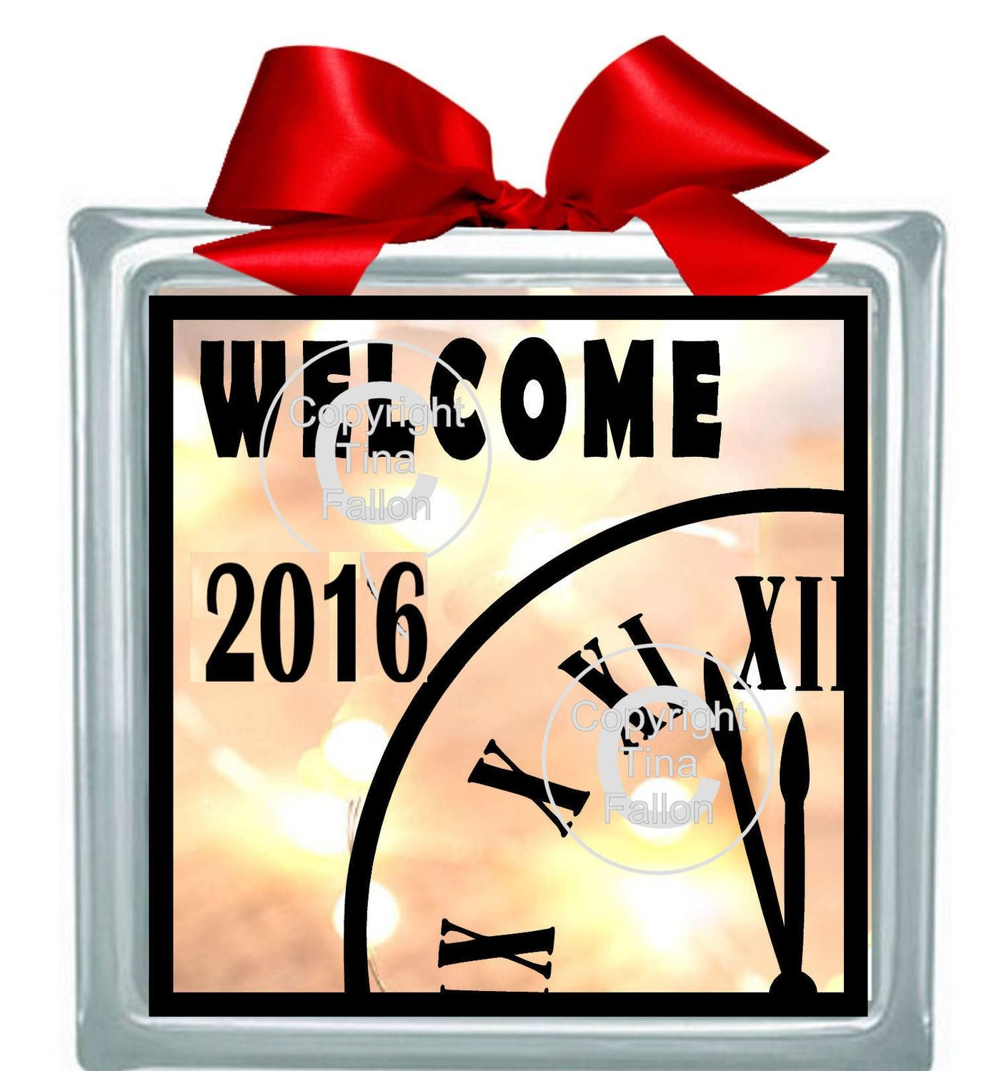 New Year Welcome  2016 Glass Block Tile Design 6x6 inches