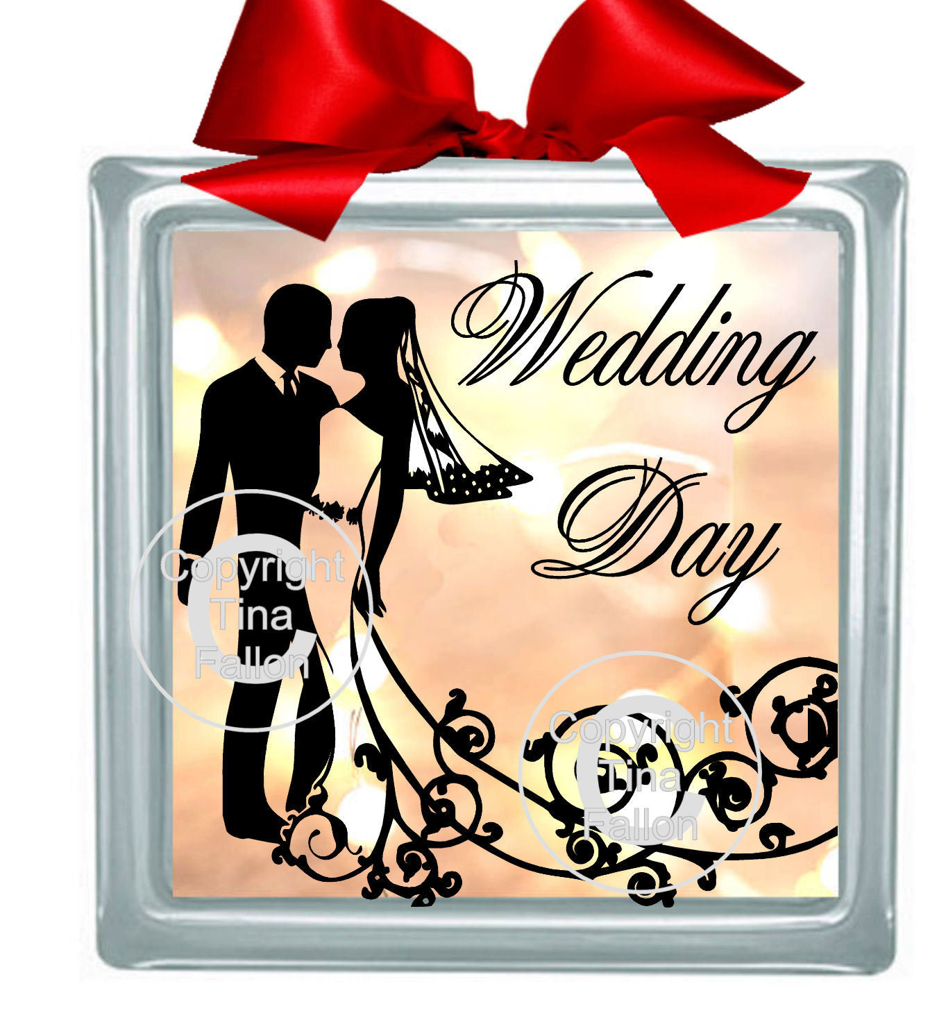 WEDDING COUPLE 3 Glass Block Tile Design 6x6 inches please read info before purchase