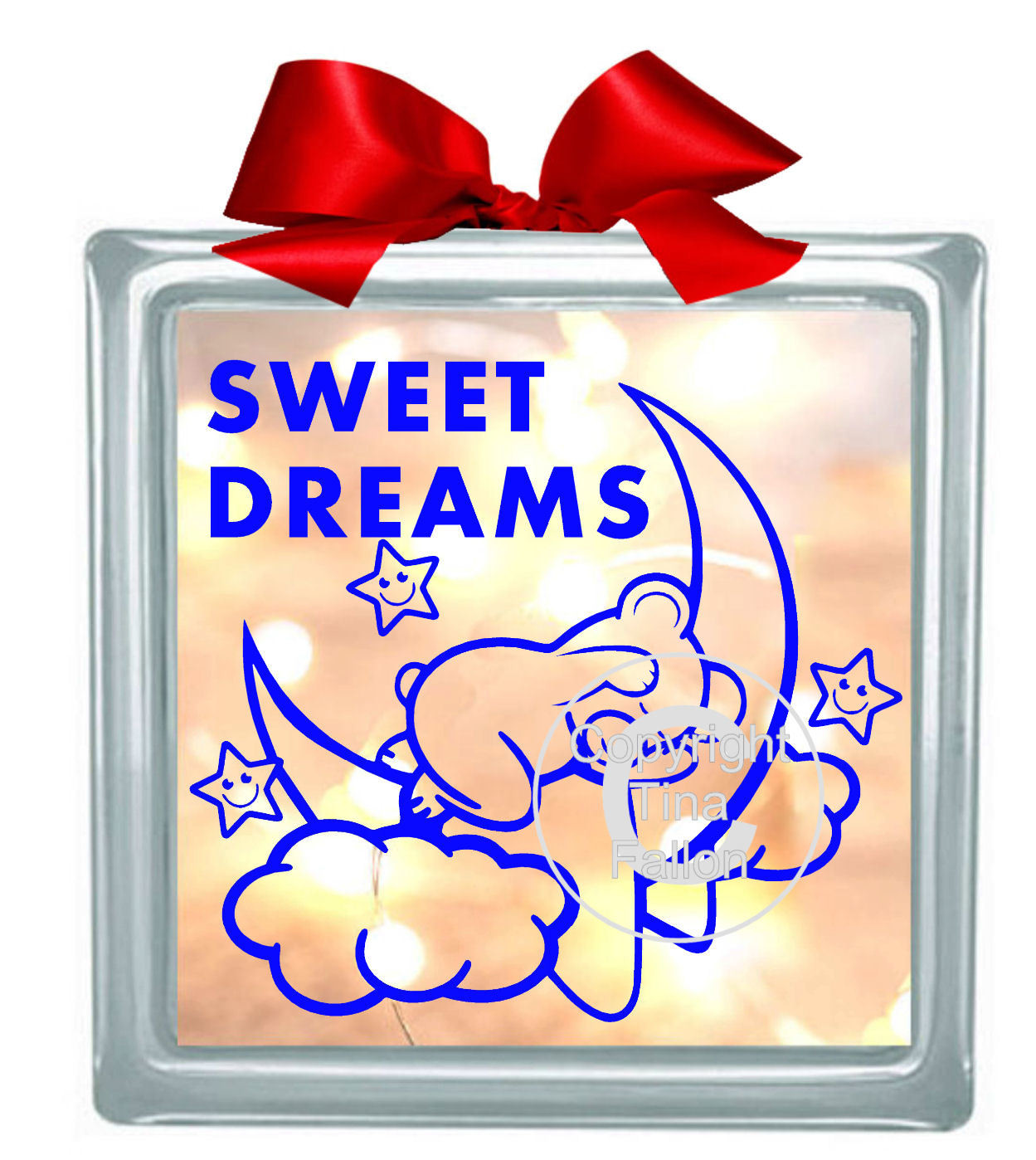 SWEET DREAMS BEAR Glass BlockDesign  please read INFO in item