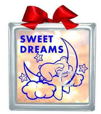 SWEET DREAMS BEAR Glass BlockDesign  please read INFO in item