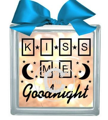 KISS ME GOODNIGHT Glass Block Tile Design 6x6 inches